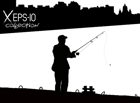 Silhouette of fisherman with fishing rod on pier fishing on background of night city black and white. Vector illustration of my raster photo