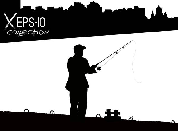 Silhouette of fisherman with fishing rod on pier fishing on background of night city black and white. Vector illustration of my raster photo vector art illustration
