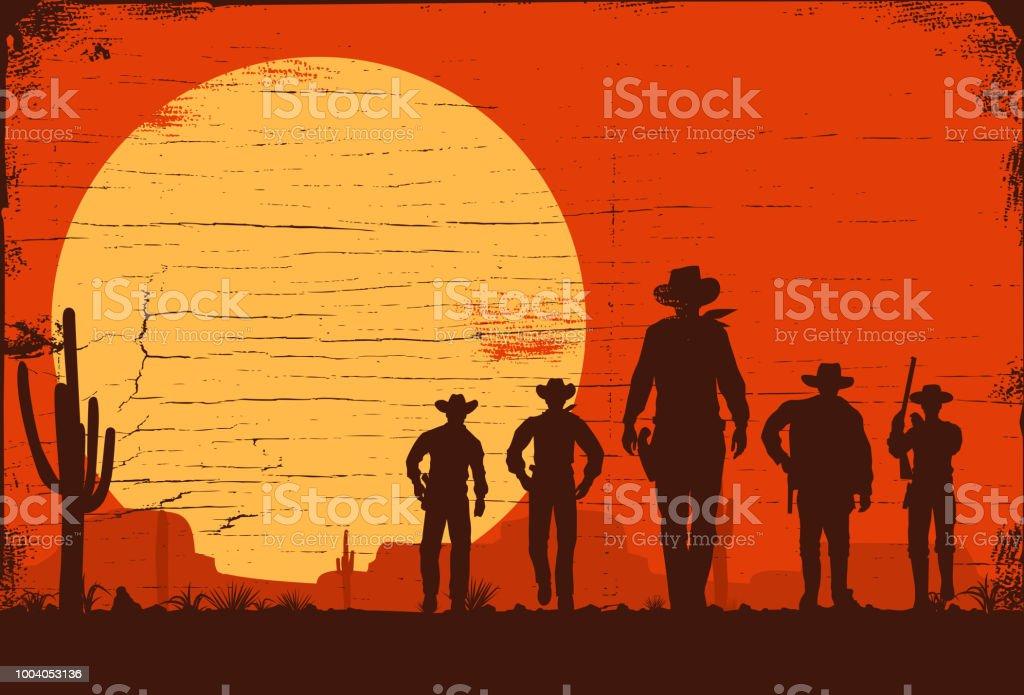 Silhouette de cinq Cow-Boys marchant vers l'avant sur une planche de bois silhouette de cinq cowboys marchant vers lavant sur une planche de bois vecteurs libres de droits et plus d'images vectorielles de adulte libre de droits