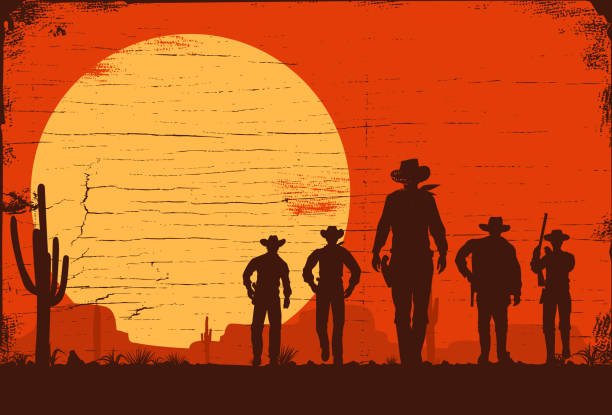Silhouette of five cowboys walking forward on a wooden board EPS 10 wild west stock illustrations