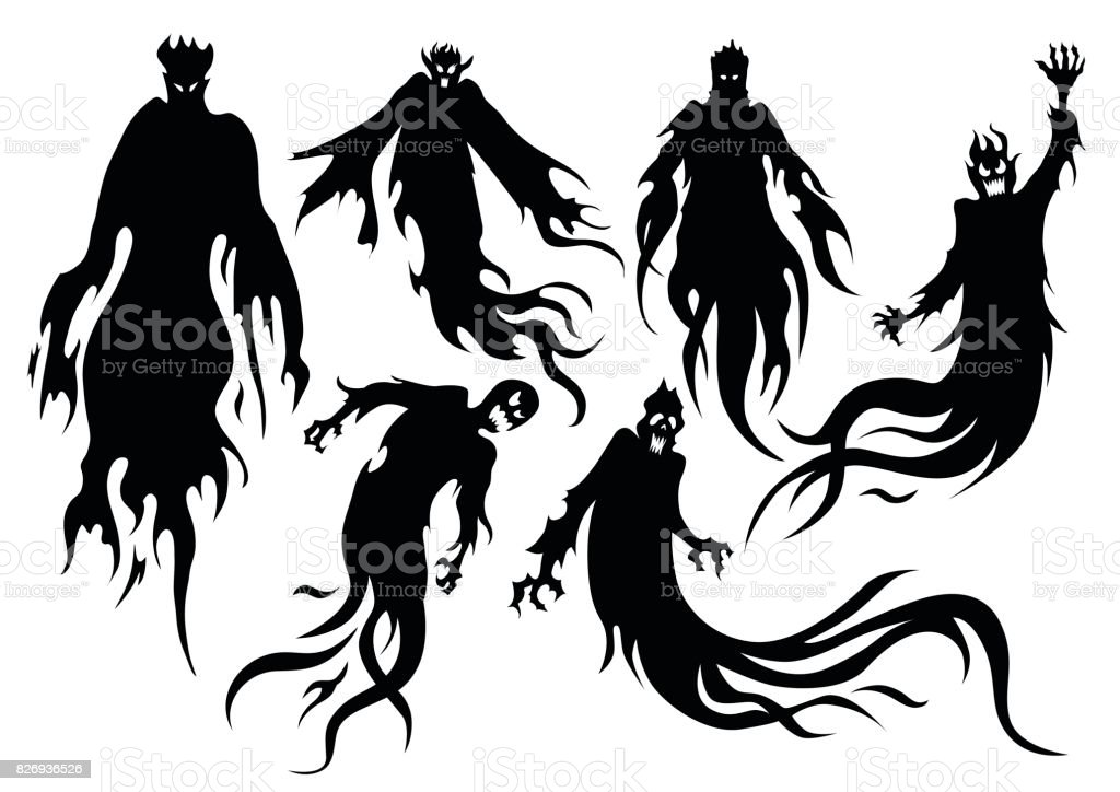 Silhouette of flying evil spirit in vector style collection. vector art illustration