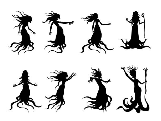 Silhouette of flying evil women spirit like a witch holding a magic wand in vector style collection. Whisper ghost and fantasy. vector art illustration