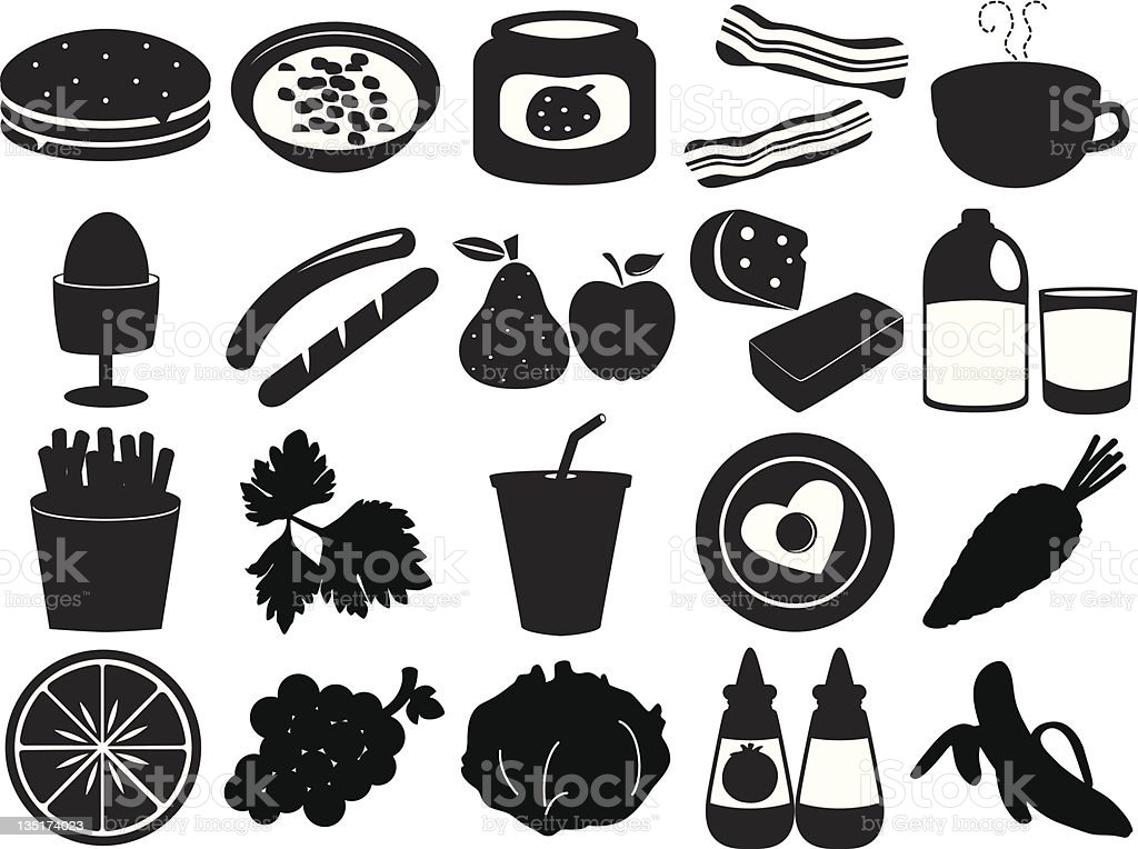 Silhouette of Fruits, vegetable, food (vector Set#4) royalty-free silhouette of fruits vegetable food stock vector art & more images of agriculture