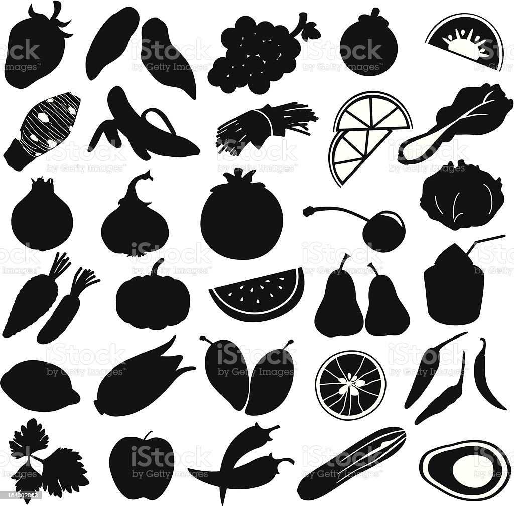Silhouette Of Fruits Vegetable Food Stock Vector Art