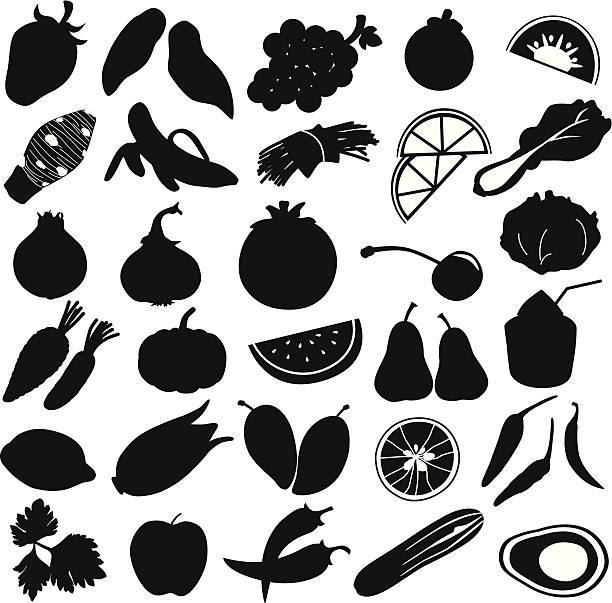 Silhouette of Fruits, vegetable, food (vector Set#1) silhouette - fruit : strawberry, sweet potatoes, grapes, mangosteen, kiwi, taro, banana, beans, lime, spinach, onion, garlic, tomato , cherry, cabbage, carrot, pumpkin, watermelon, pear, coconut, lemon, corn, mango, lime, chillies,  avocado silhouettes stock illustrations