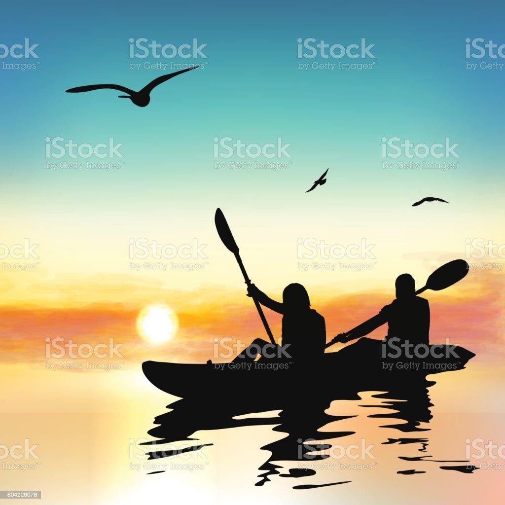 Silhouette of funny girls kayaking. vector art illustration