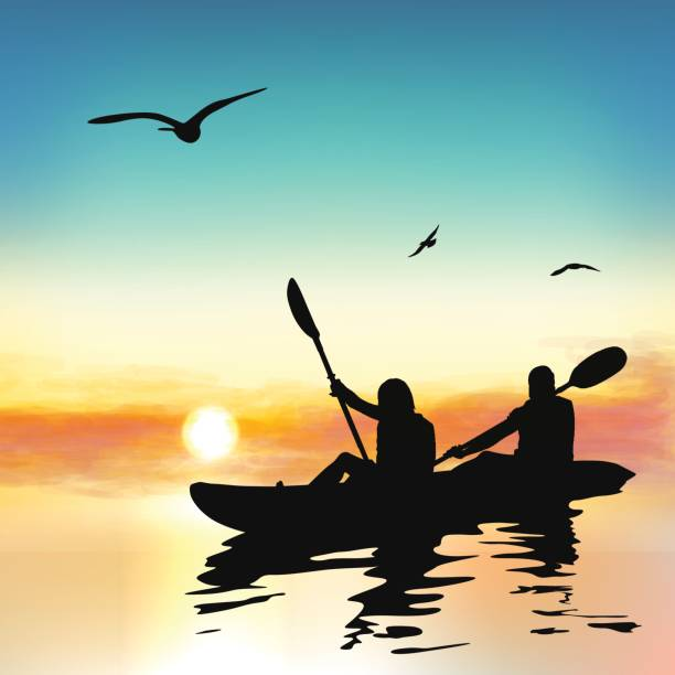 silhouette of funny girls kayaking. - kayaking stock illustrations, clip art, cartoons, & icons