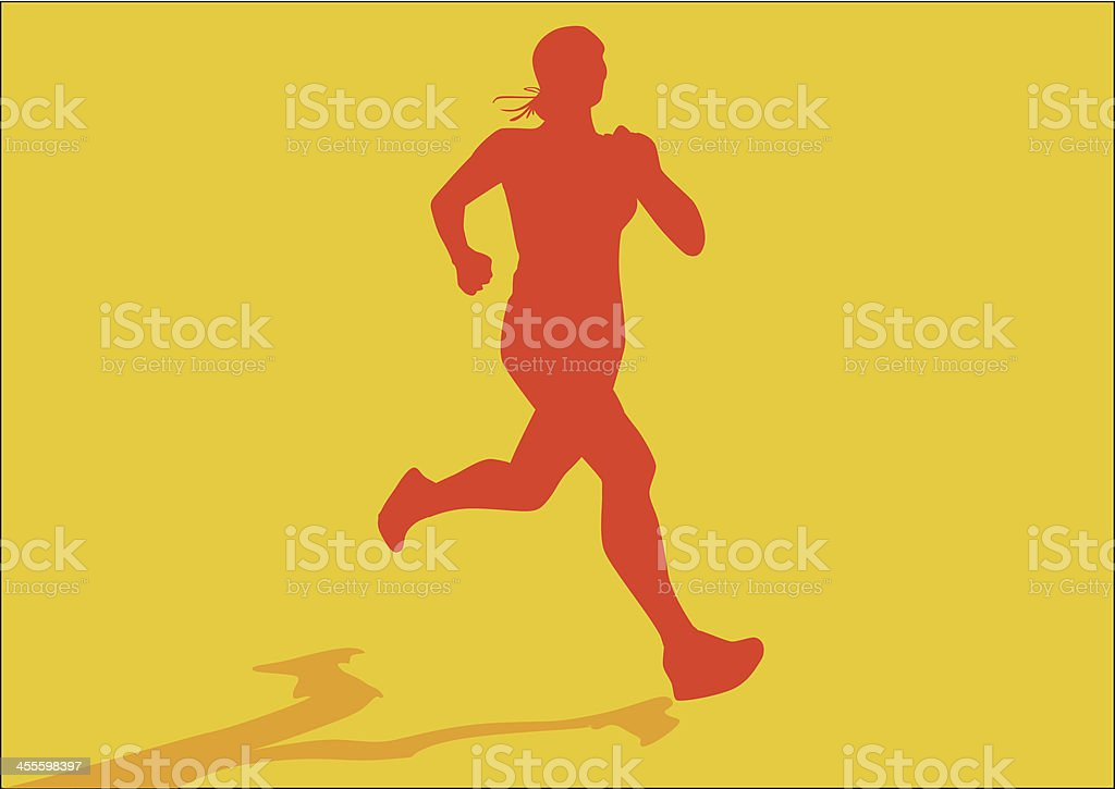 Silhouette of girl athlete. Woman jogging royalty-free stock vector art