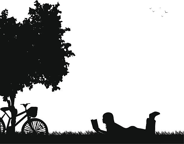 Silhouette of girl reading a book under the tree Silhouette of girl reading a book under the tree in spring, one in the series of similar images book silhouettes stock illustrations