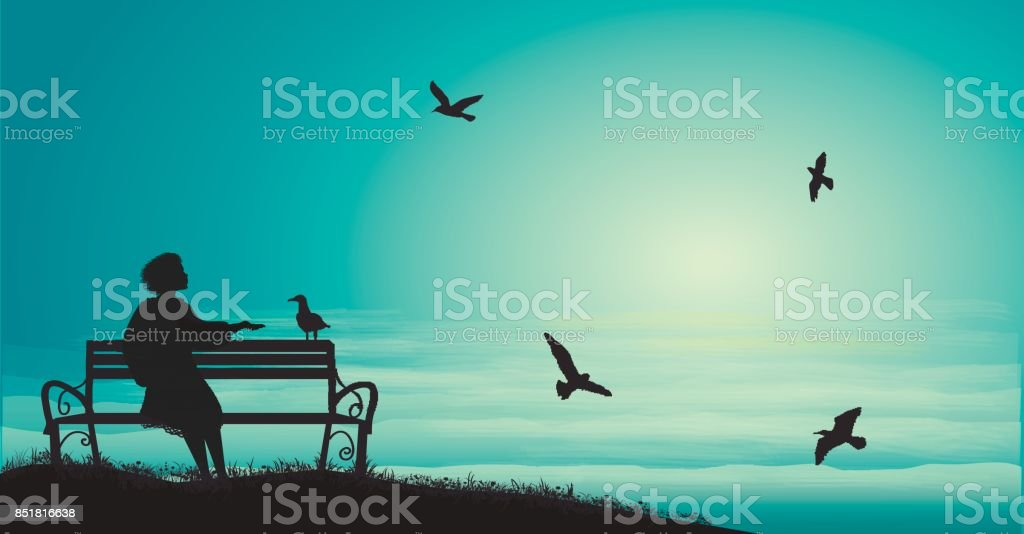 silhouette of girl sitting on the bench near the sea with sun-rise and feed the sea gulls, shadows, memories, vector art illustration
