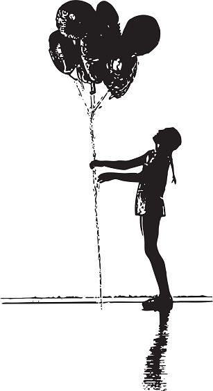 Silhouette Of Girl With Balloons Stock Illustration