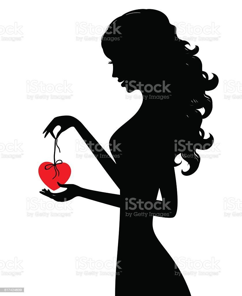 silhouette of girl with heart vector art illustration