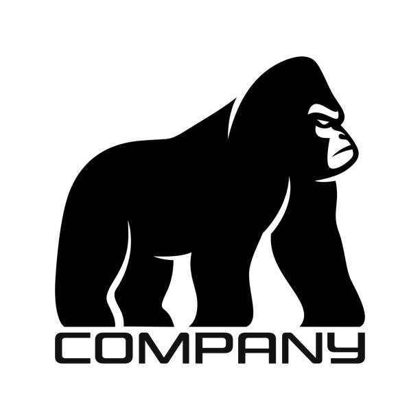 Silhouette of gorilla logo Silhouette of gorilla logo gorilla stock illustrations