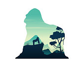 Silhouette of gorilla on the hill scenery