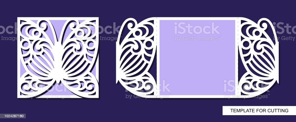 silhouette of greeting card with butterfly template for laser