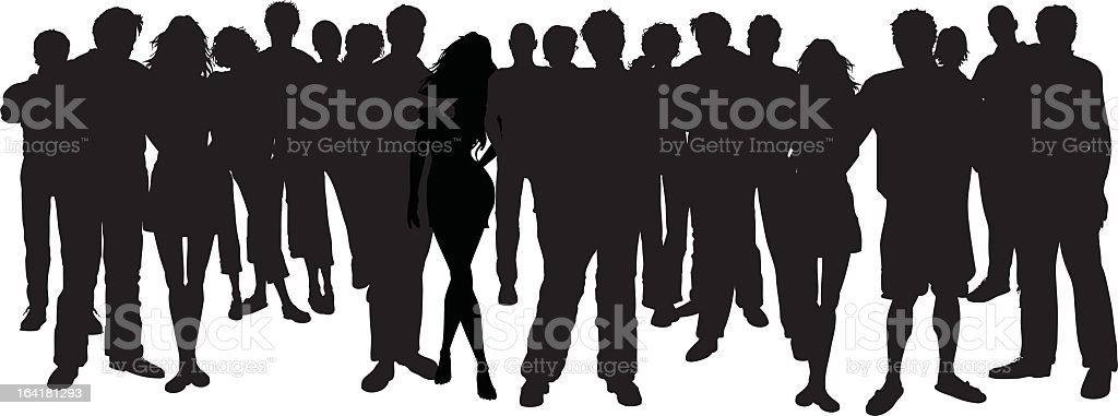 Silhouette of group of people standing on white background vector art illustration