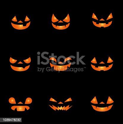 Silhouette of halloween pumpkins faces