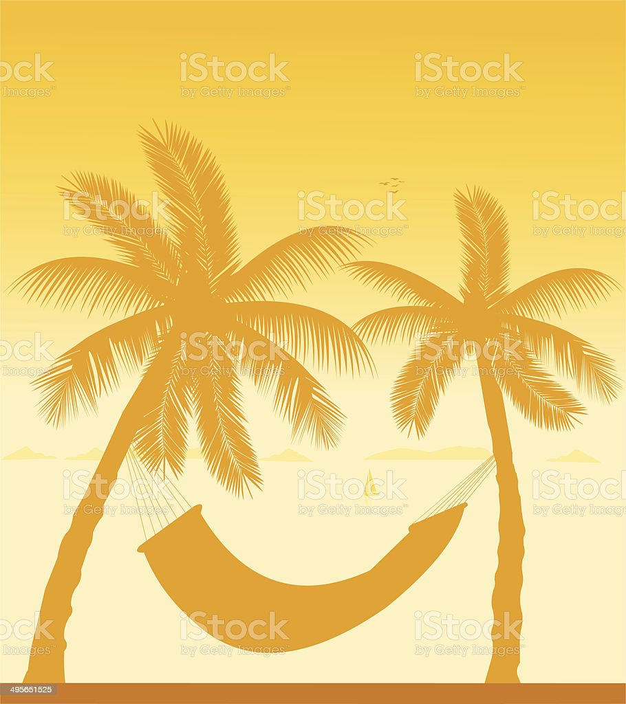 Silhouette of hammock under the palm trees royalty-free stock vector art