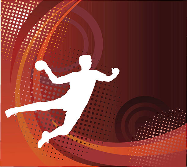 bildbanksillustrationer, clip art samt tecknat material och ikoner med silhouette of handball player shooting for goal - vector background - handboll