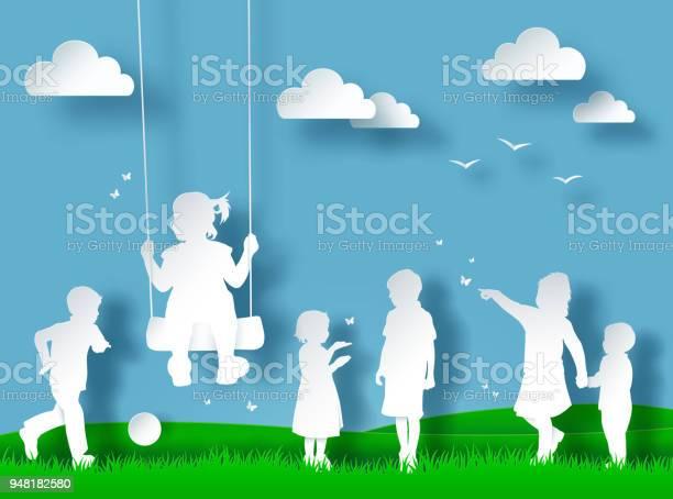 Silhouette of happy children playing paper cut style vector id948182580?b=1&k=6&m=948182580&s=612x612&h=ba6q9gpkvdx6prhni2hkus8fv0fe76wfmyq ubk4aeq=