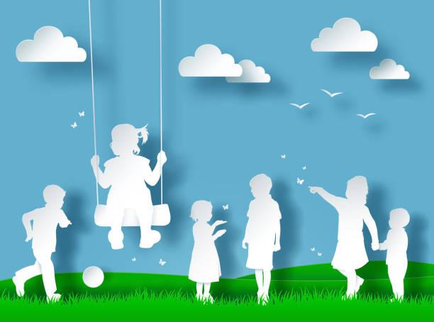 silhouette von glücklichen kindern spielen. scherenschnitt-stil - kind schaukel stock-grafiken, -clipart, -cartoons und -symbole