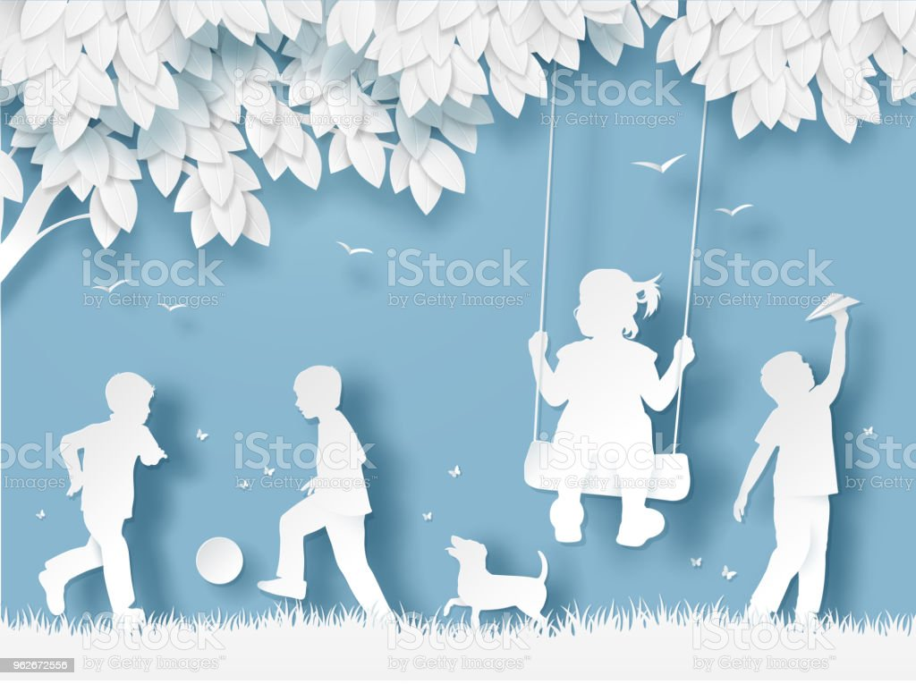 Silhouette of Happy Children Playing. Paper cut style - arte vettoriale royalty-free di Albero