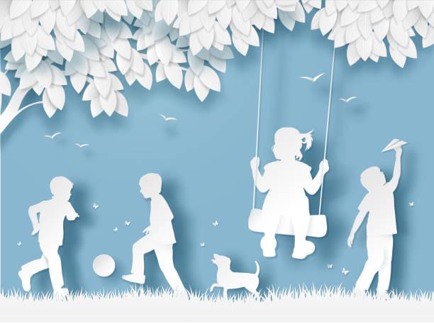 bildbanksillustrationer, clip art samt tecknat material och ikoner med silhuetten av glada barn som leker. papper skär stil - abstract silhouette art