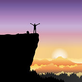 Concept freedom illustration vector flat, Silhouette of happy man standing raise hand on mountain cliff looking at sunset sky background