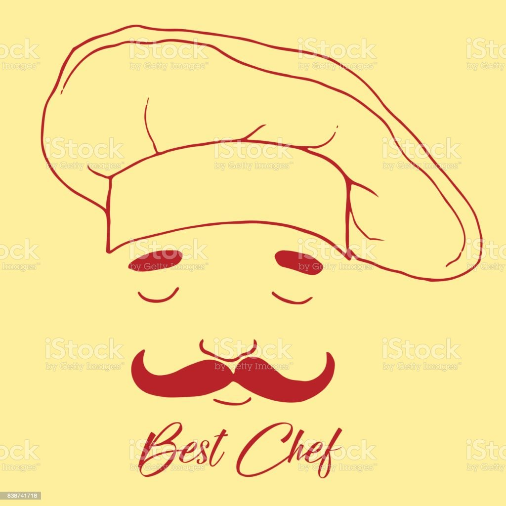 Silhouette of head chef, cartoon style, beautiful flat icon, cute chef with mustache in cap, cherry color outline, isolated on beige background vector art illustration