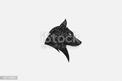 Silhouette of head wild wolf as symbol wildlife hand drawn stamp effect vector illustration