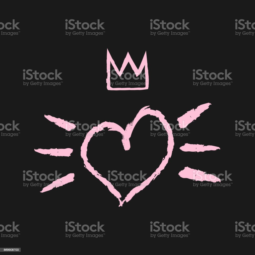 Silhouette Of Heart Crown And Brush Strokes Grunge Broken Rough Stock  Illustration - Download Image Now