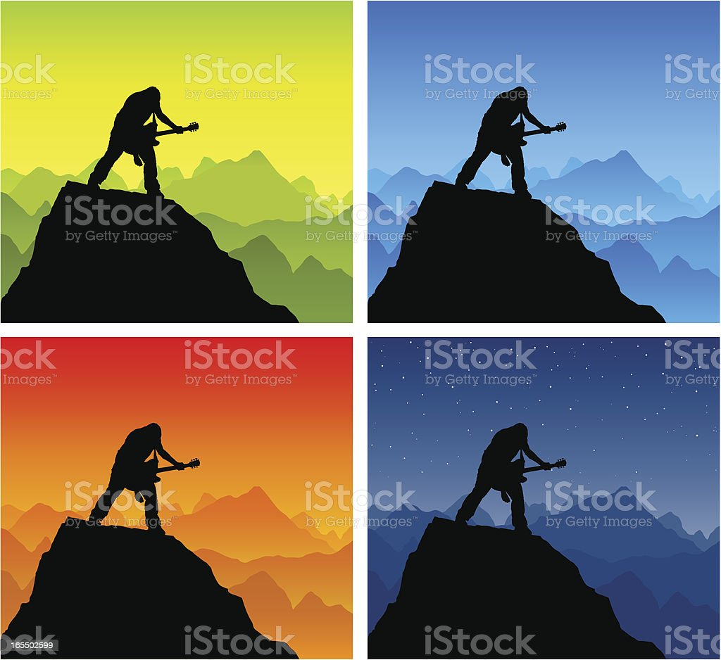 Silhouette Of Heavy Guitar Chords Playing Stock Vector Art More