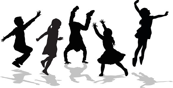Silhouette Of High Energy Active Kids