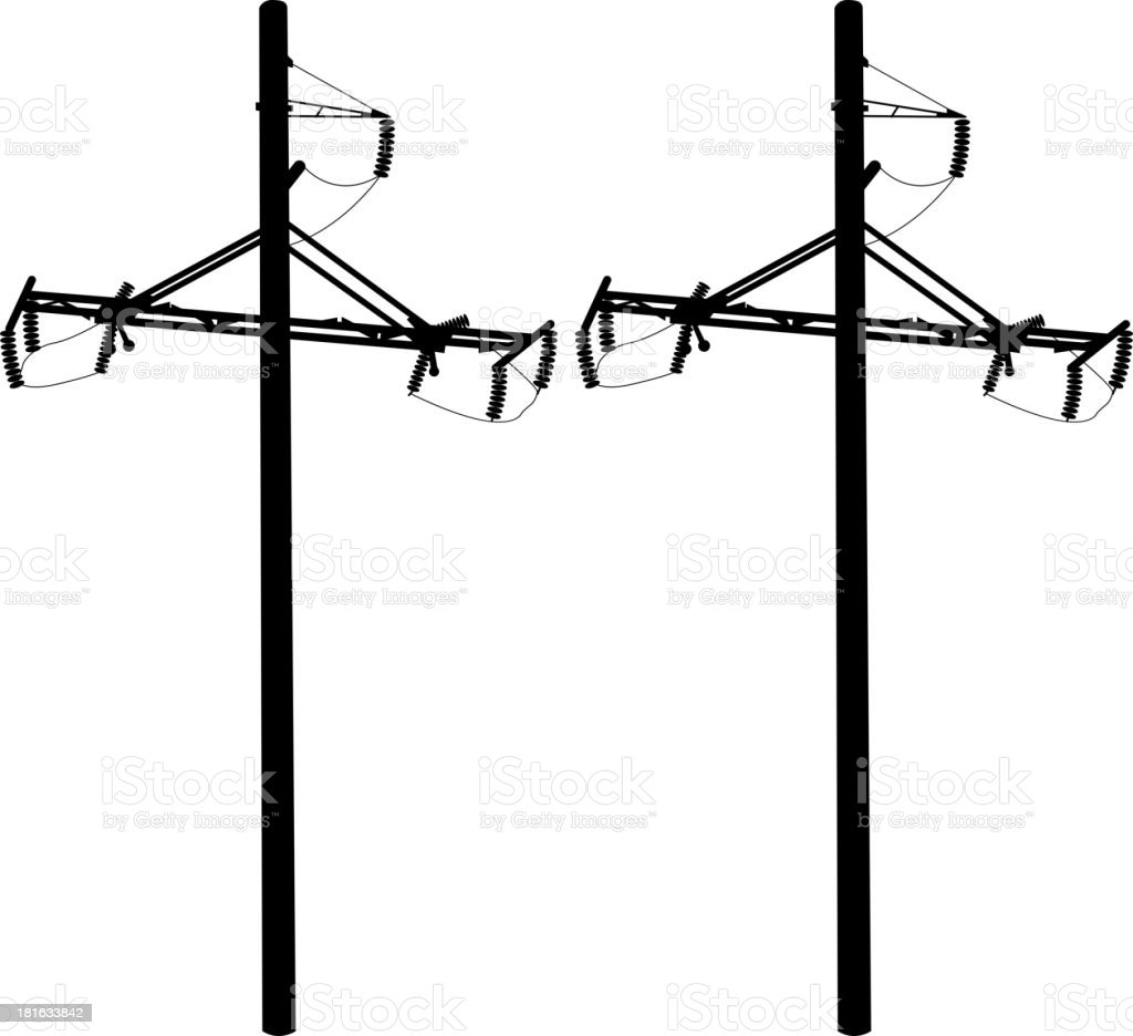 Silhouette of high voltage power lines. Vector  illustration. royalty-free stock vector art