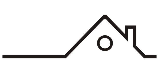 silhouette von haus, dach mit schornstein - dachboden stock-grafiken, -clipart, -cartoons und -symbole