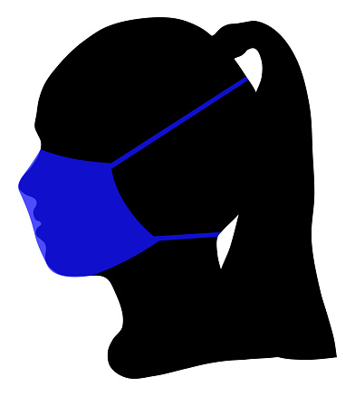 Silhouette of human head and protective medical mask