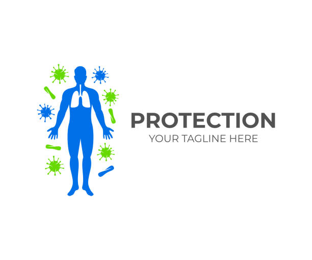 Silhouette of human with lungs and around him viruses and microbes, icon design. Healthcare, health, medicine and science, vector design and illustration Silhouette of human with lungs and around him viruses and microbes, icon design. Healthcare, health, medicine and science, vector design and illustration immune system stock illustrations