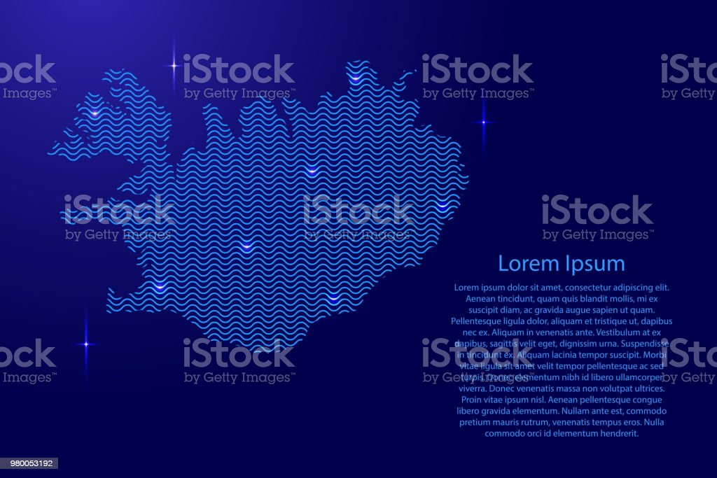 Silhouette of Iceland country from wavy blue space sinusoid lines and glowing stars. Contour state of creative luminescence curve. Vector illustration. vector art illustration