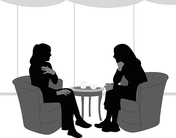 ilustrações de stock, clip art, desenhos animados e ícones de silhueta da íntima entre namoradas falar - mão no peito