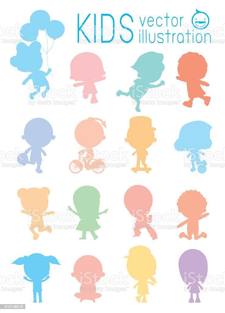silhouette d'enfants colorés isolé sur fond blanc - Illustration vectorielle