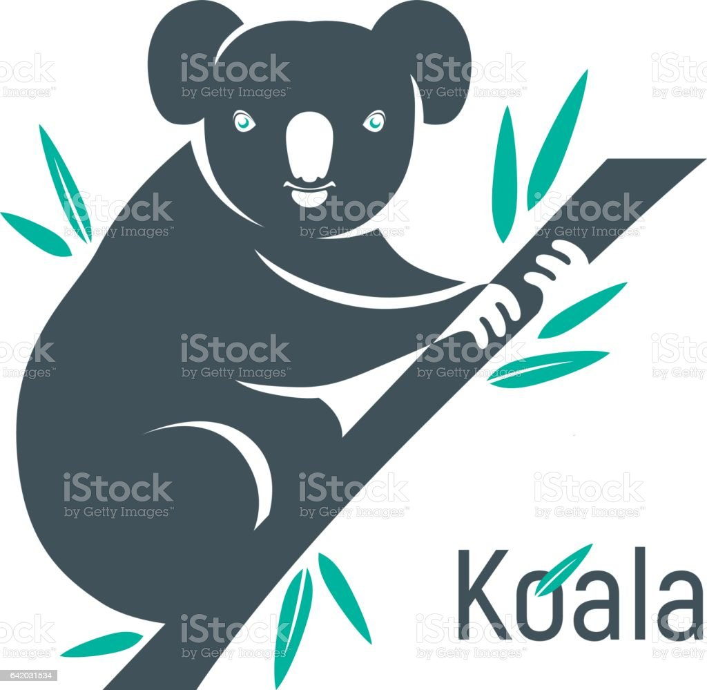 Silhouette of koala bear sitting on eucalyptus branch. vector art illustration