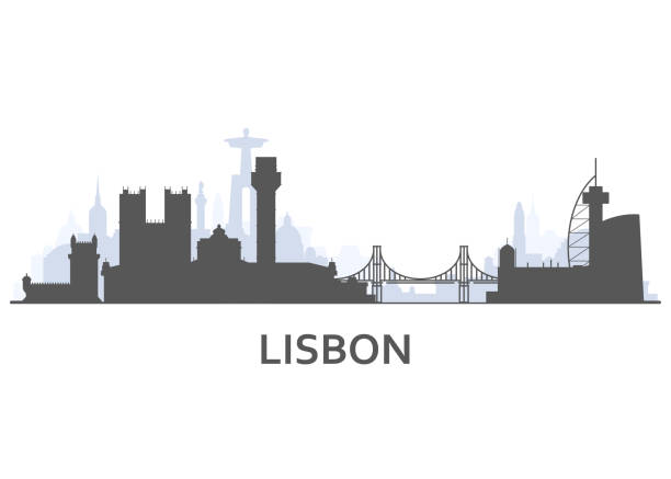 illustrazioni stock, clip art, cartoni animati e icone di tendenza di silhouette of lisbon cityscape - old town view with landmarks of lisbon - lisbona