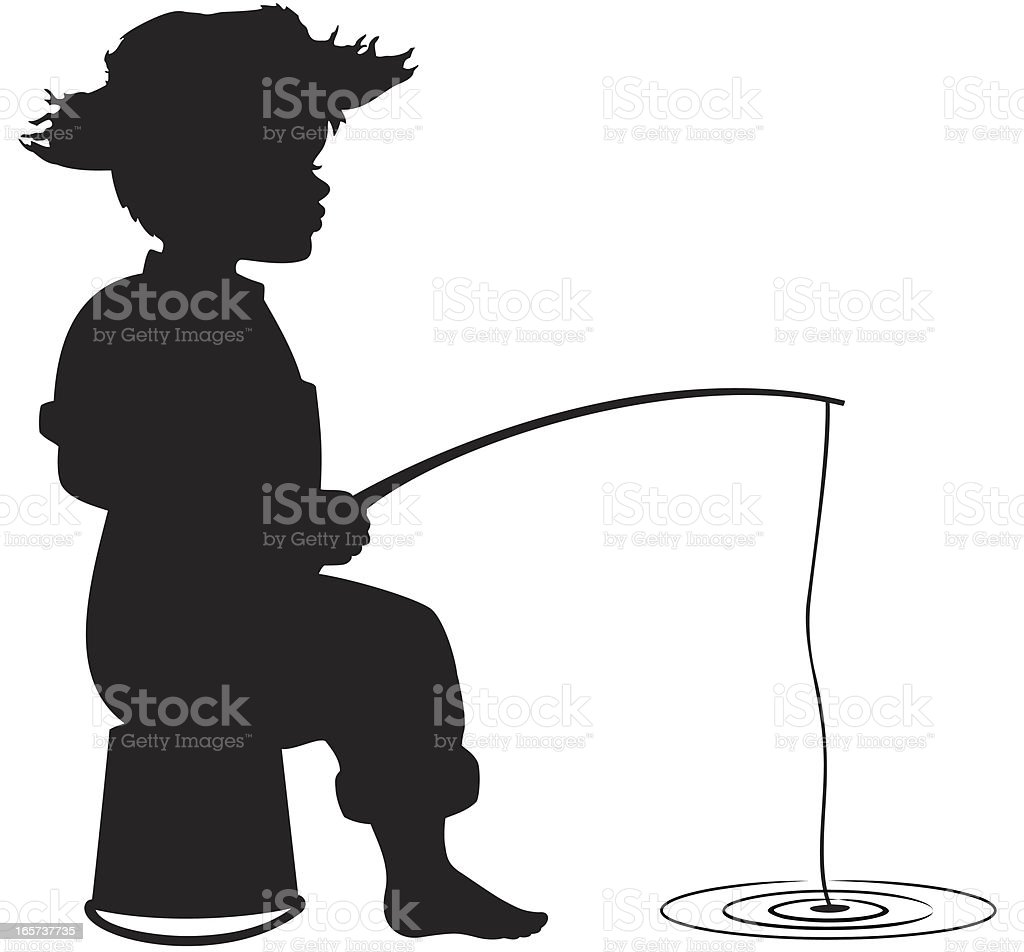 Silhouette of little boy fishing royalty-free stock vector art