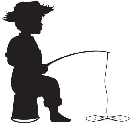 Silhouette of little boy fishing