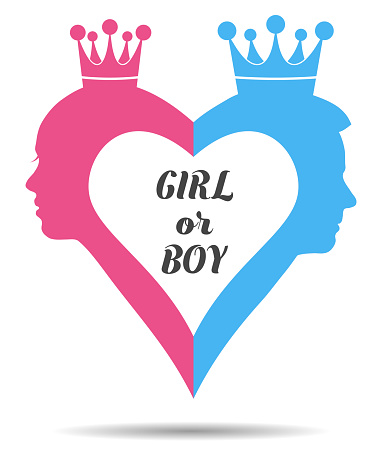 Silhouette of little princess and prince