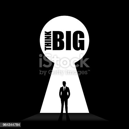 Silhouette of lock with text Think Big. Vector icon. illustration