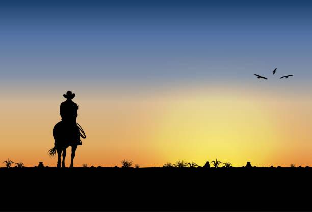 stockillustraties, clipart, cartoons en iconen met silhouet van lonesome cowboy paard rijden bij zonsondergang, vectorillustratie - alleen één jonge man