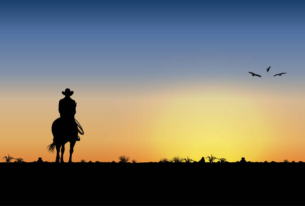 ilustrações de stock, clip art, desenhos animados e ícones de silhouette of lonesome cowboy riding horse at sunset, vector illustration - sunset