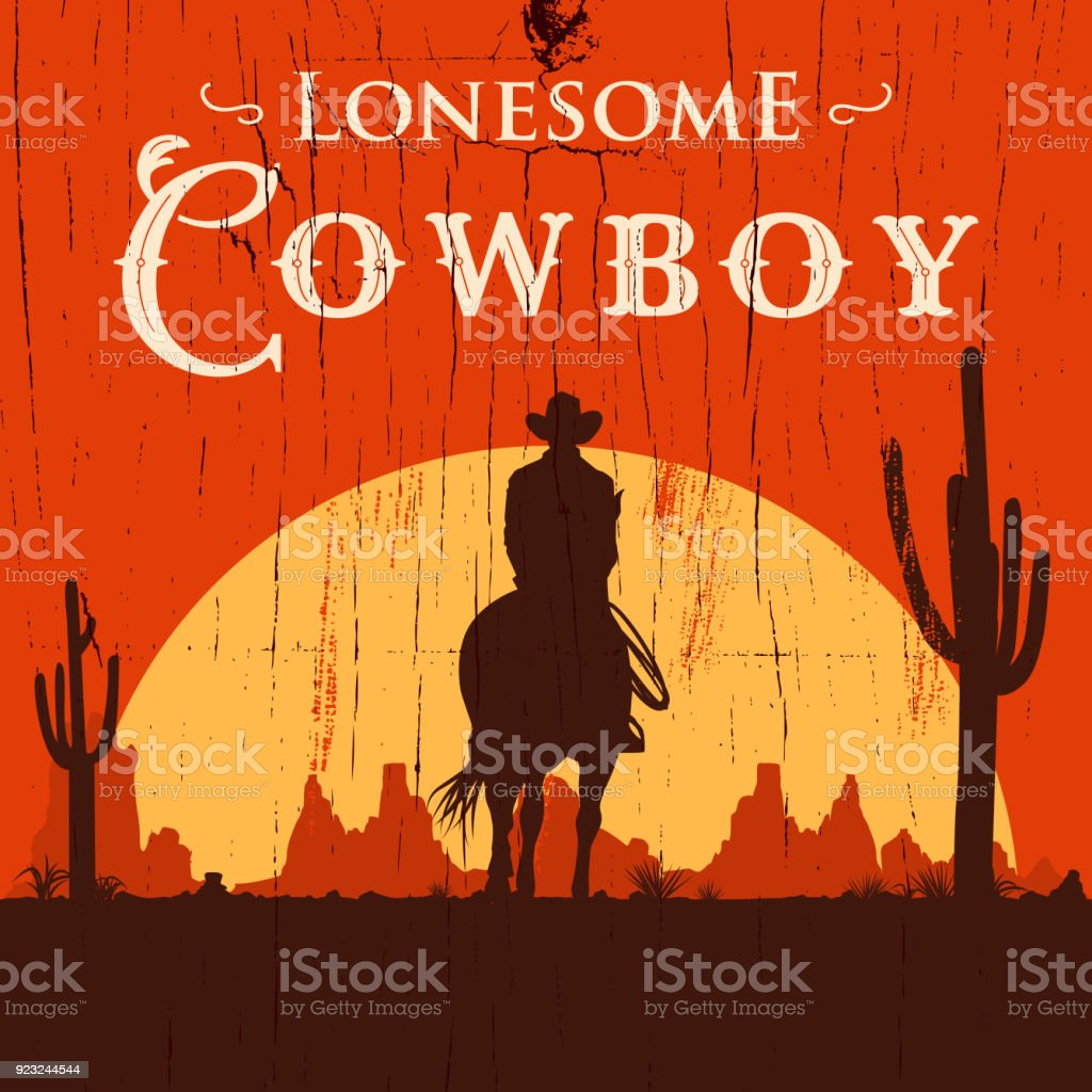Silhouette of lonesome cowboy riding horse at sunset, Vector Illustration vector art illustration