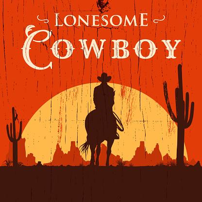Silhouette De Lonesome Cowboy Sur Cheval Au Coucher Du Soleil Illustration Vectorielle Vecteurs libres de droits et plus d'images vectorielles de Adulte